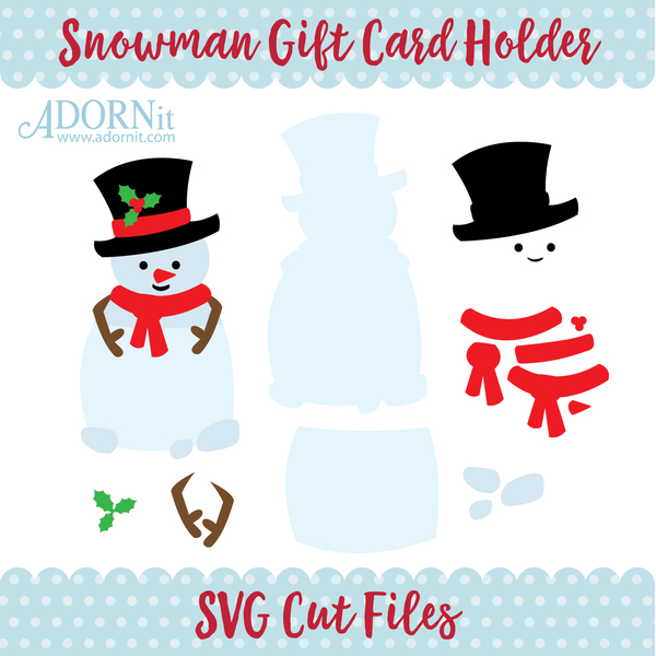 Snowman Gift Card Holder - Instant Digital Download SVG File