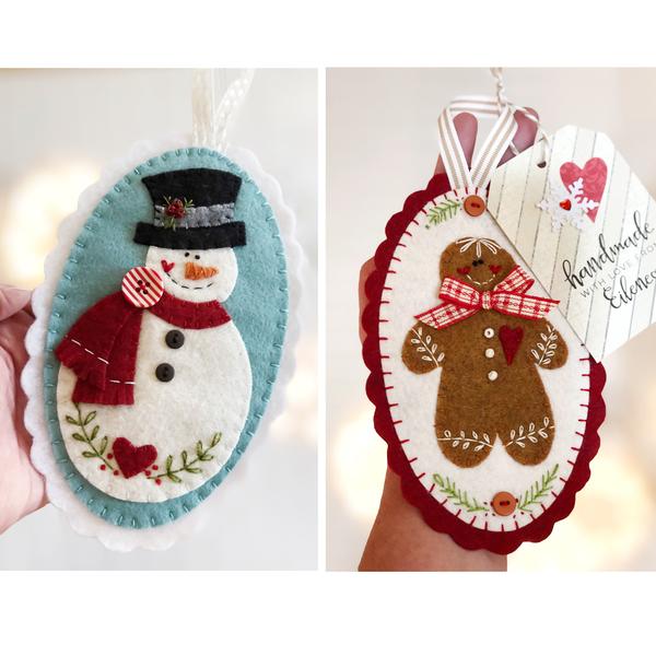 Burrrt & Ginger Felt Ornaments Pattern