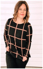 Josie Grid Long Sleeve Top