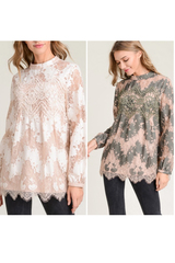 Vera Lace Mock Neck Blouse