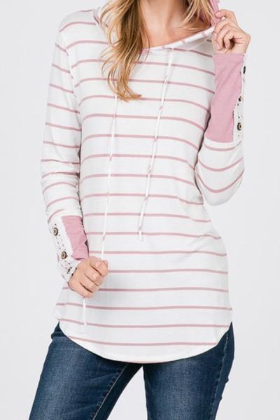 Blush Stripe Lace Cuff Hoodie