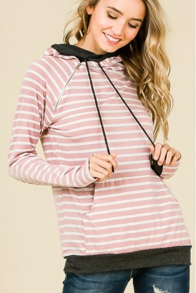 Pink Stripes DBL Hoodie