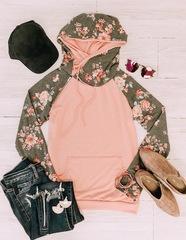 Pink & Charcoal Floral Hoodie