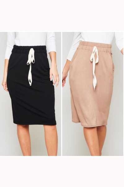 Solid Drawstring Skirt