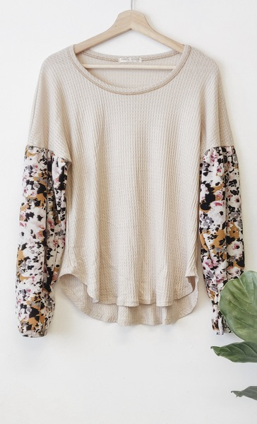 Ivory Balloon Floral Sleeve Top