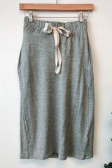 Grey Solid Drawstring Skirt
