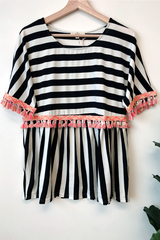 Ali Stripe Fringe Top