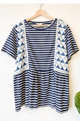 PLUS Verona Geo Stripe Top