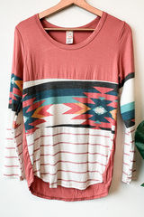Mixed Print Spring Aztec Top