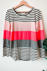 Pink Stripes Sliced Top