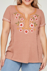 Mauve Nina Embroider Top