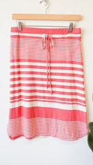 Coral Stripe Drawstring Skirt