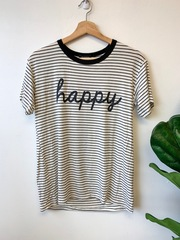 White Stripe Happy Tee