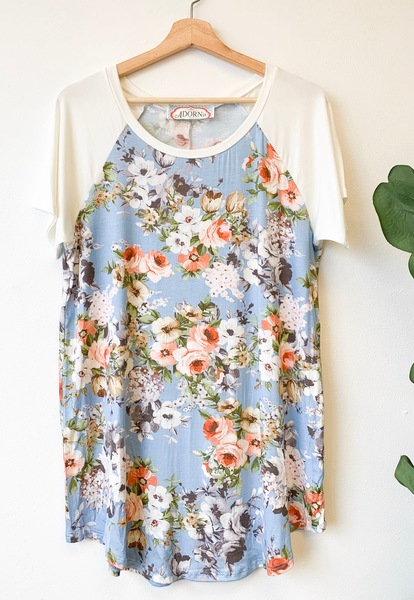 Powder Blue Blooms Top