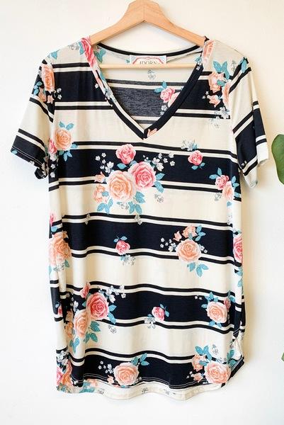 PLUS Kara Floral & Stripes Top