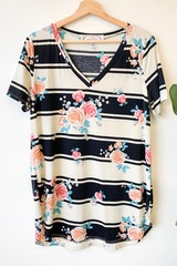 PLUS Kara Floral & Stripes Top