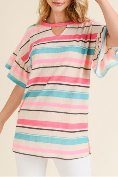 Lorna Ruffle Stripe Top