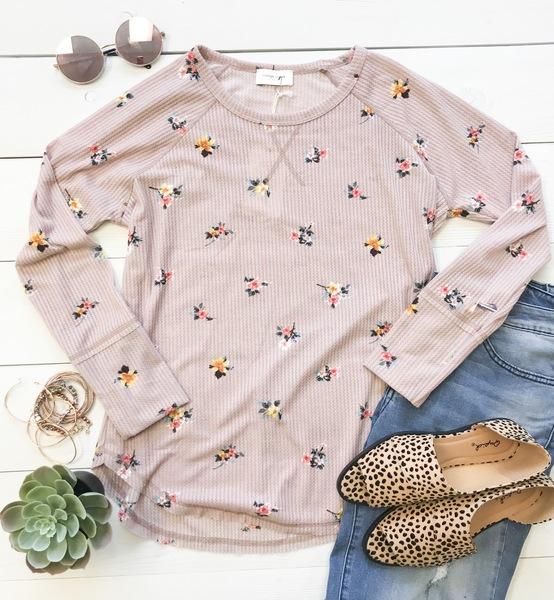 Dainty Bloom Waffle Knit Top