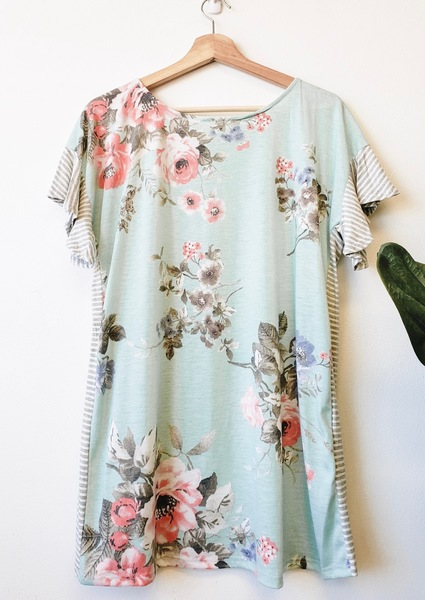 Blue Spring Mix Print Top
