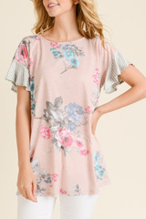 Blush Spring Mix Print Top