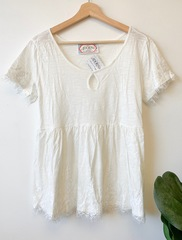 White Hattie Babydoll Top