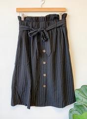 Black Stella Pinstripe Skirt