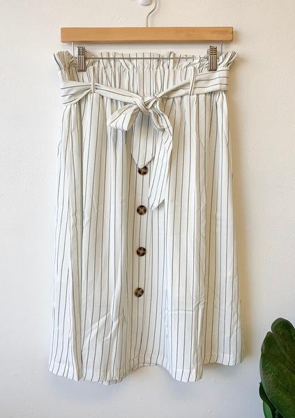 White Stella Pinstripe Skirt