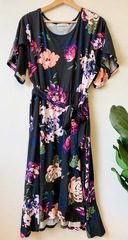 PLUS Black Floral Tie Dress