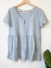 Blue Hattie Babydoll Top