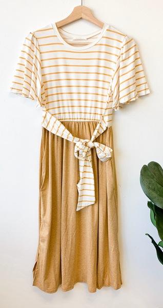 Mustard Stripe & Solid Dress
