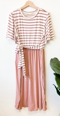 Mauve Stripe & Solid Dress