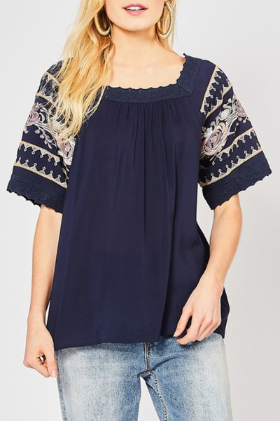 Navy Rawlins Embroider Blouse