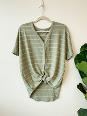 Olive Cassia Button Tie Top