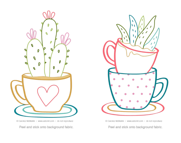 Cactus Tea Cups embroidery PATTERN