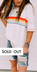 White Rainbow Stripe Tee