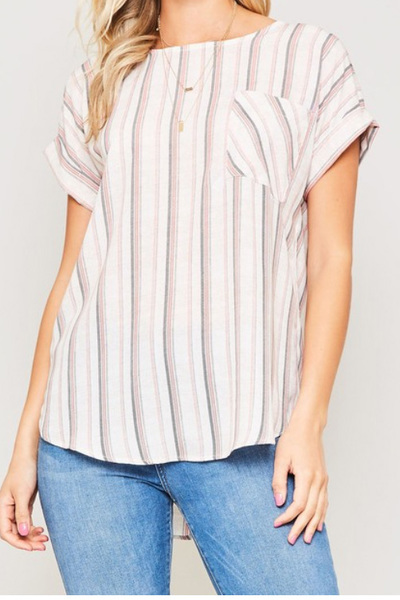 Red Wilma Stripe Top