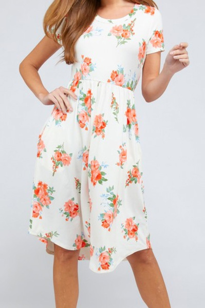 Peach Blooms Midi Dress