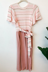Soryn Stripe & Solid Tie Dress