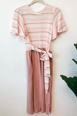 Soryn Stripe & Solid Tie Dress