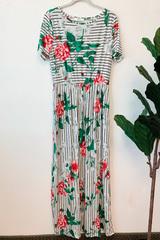 Ivory Stripe & Poppy Red Dress