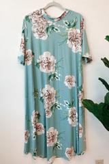 Aqua Blooms Midi Dress