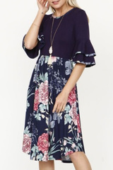 Andee Navy Floral Ruffle Dress