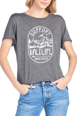 Charcoal Support Wildlife Tee
