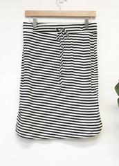 Black Stripe Drawstring Skirt