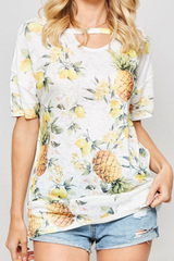 Pineapple Tropical Keyhole Tee