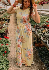 Ruddy Yellow Floral Maxi Dress