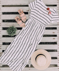 Sable White Stripe Maxi Dress