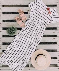 Sable White Stripe Maxi Dress