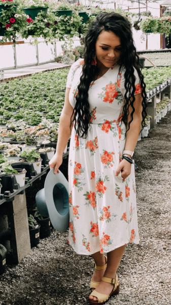 Peach Blooms Midi Dress