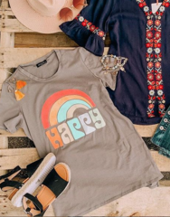 Grey Rainbow Happy Tee